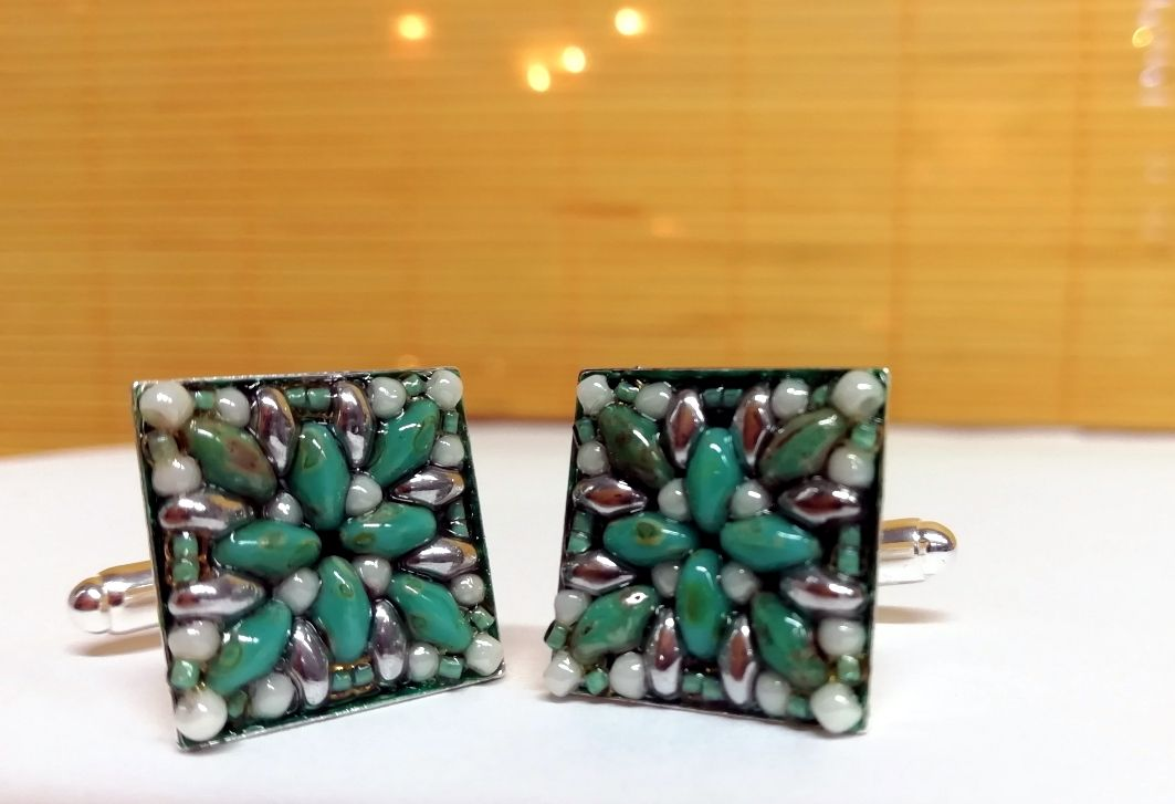 Cufflinks turquoise silver hand beaded superduo beads