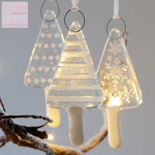 Glass Christmas Trees - set of 3