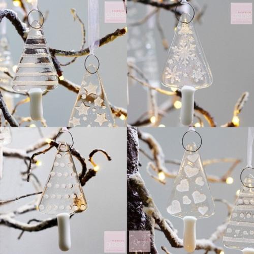 Glass Christmas trees - set of 6