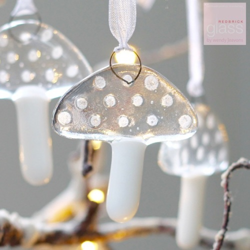 Glass toadstool decorations - set of 3