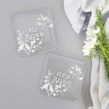 Mr and Mrs glass love birds coasters