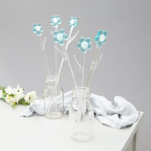 Blue glass flowers