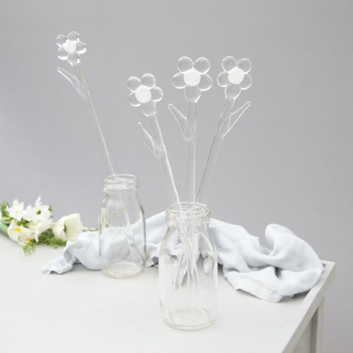Clear glass flowers