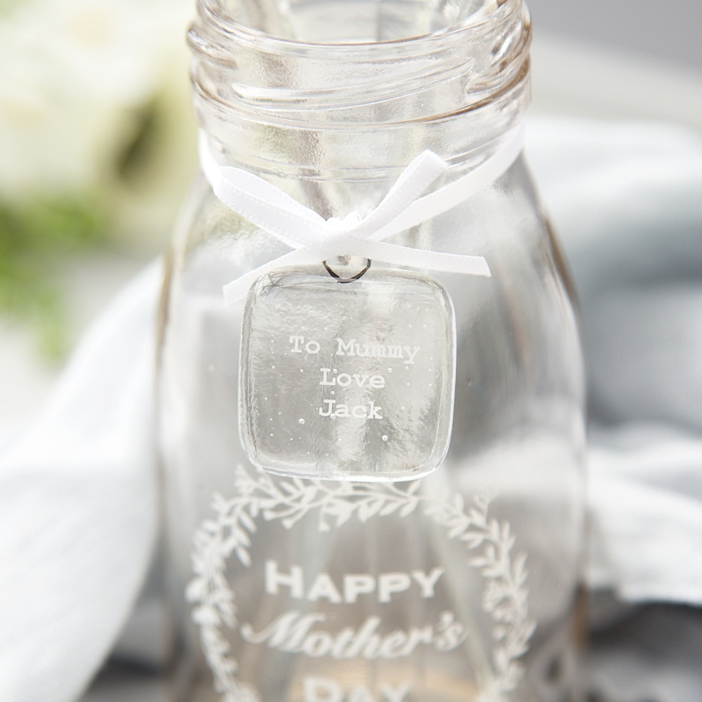 Mother's Day personalised glass gift tags for mini bottles