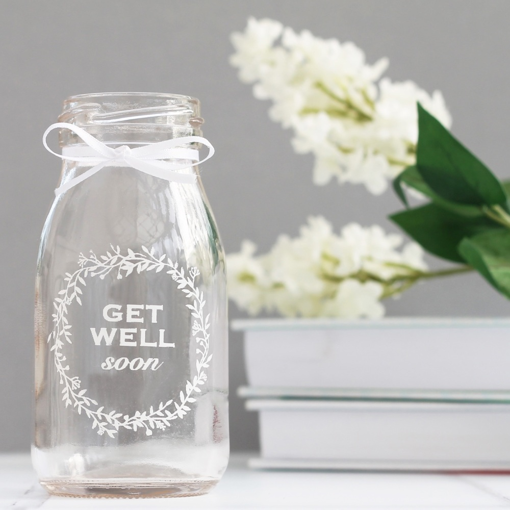 Get well soon mini glass bottle