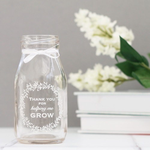 Thank You For Helping Me Grow mini glass bottle