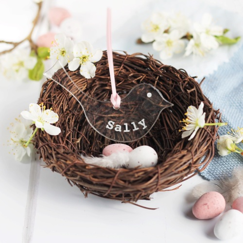 <001>Personalised glass Easter bird