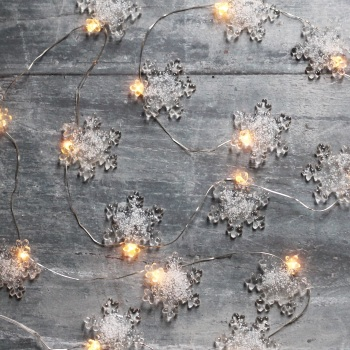 Snowflake glass micro fairy lights
