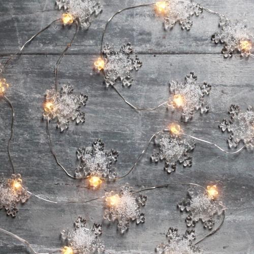 Snowflake glass micro fairy lights