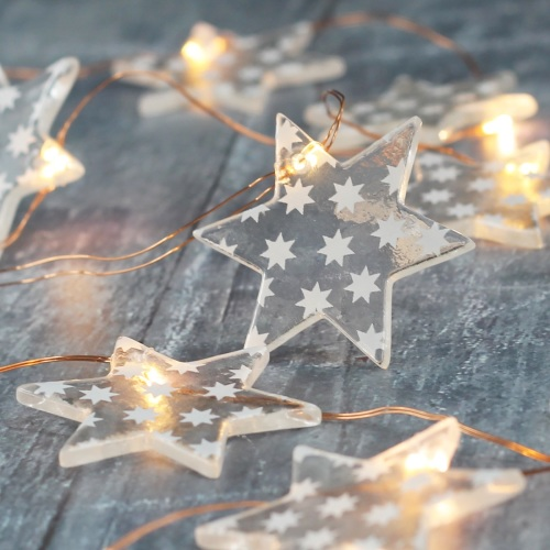 Star print glass star micro fairy lights