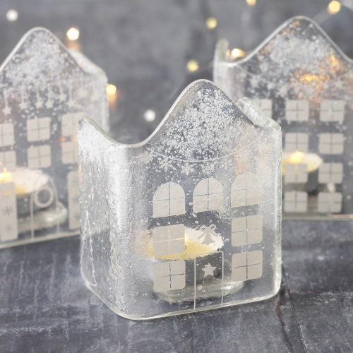 Snowy glass house tea light candle holder