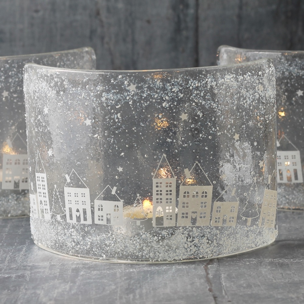 Snowy little house curved glass tea light holder