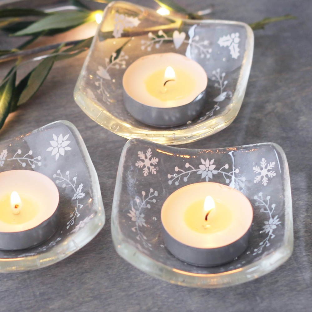 Glass tea light candle holder - Scandi style