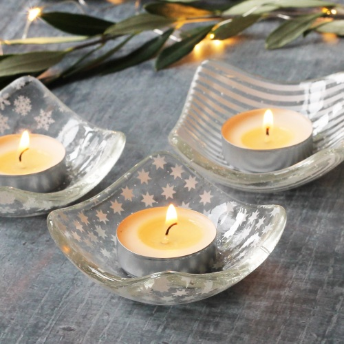 Glass tea light holder - star. stripes and snowflakes