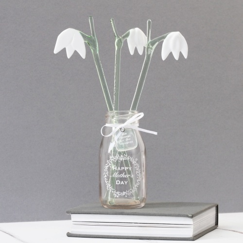 Set of 3 glass snowdrops