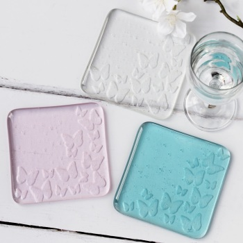 Glass butterfly coasters.