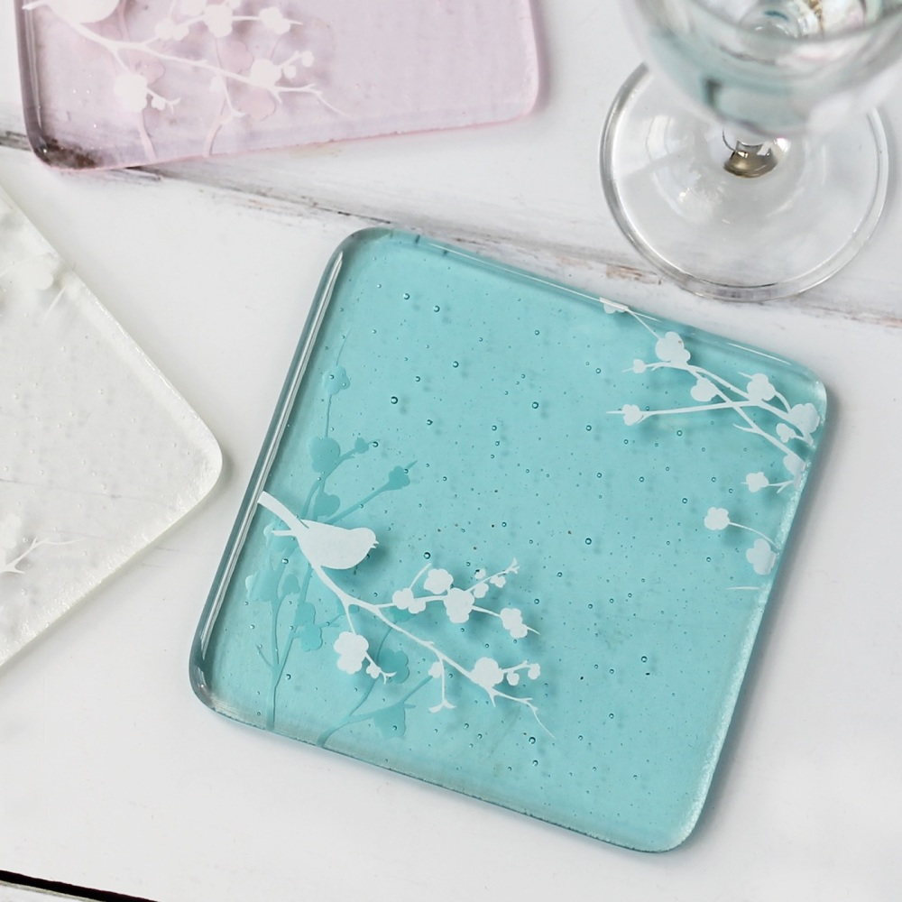 Bird in Blossom design glass coasters
