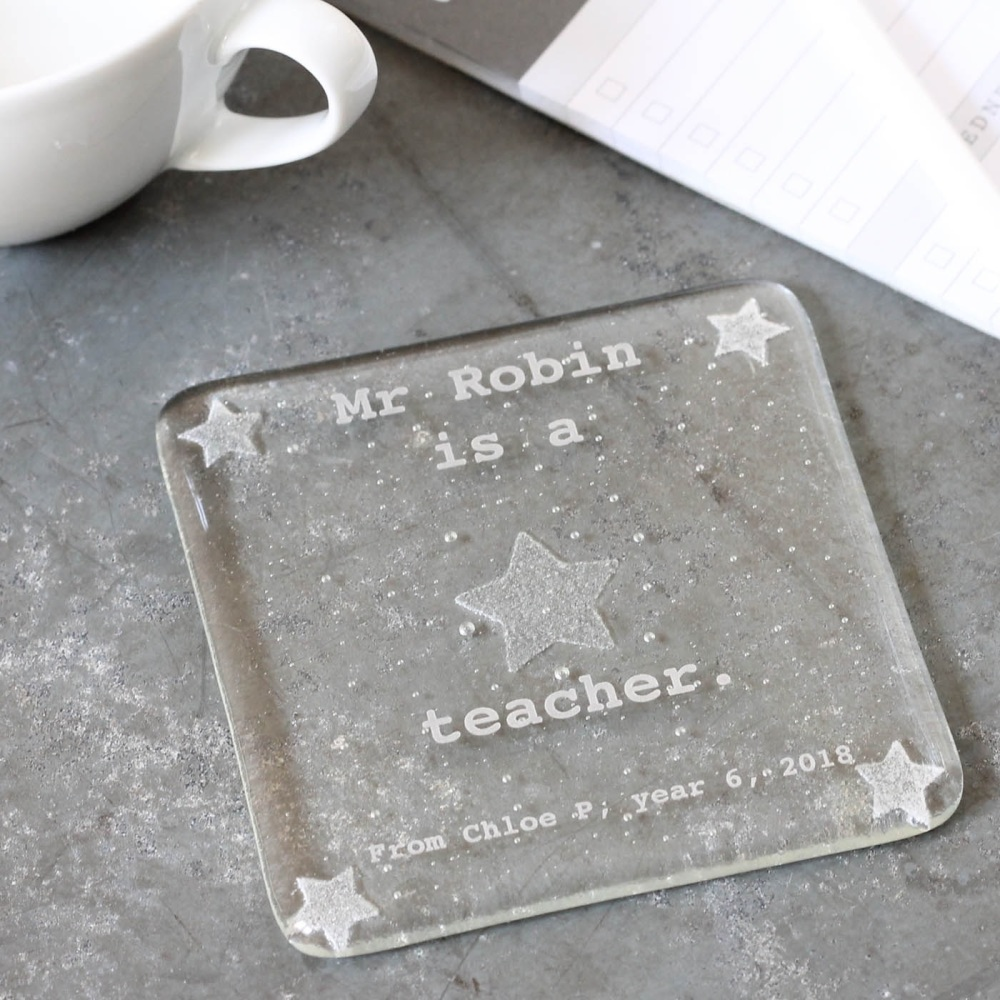 Personalised Star teacher coaster
