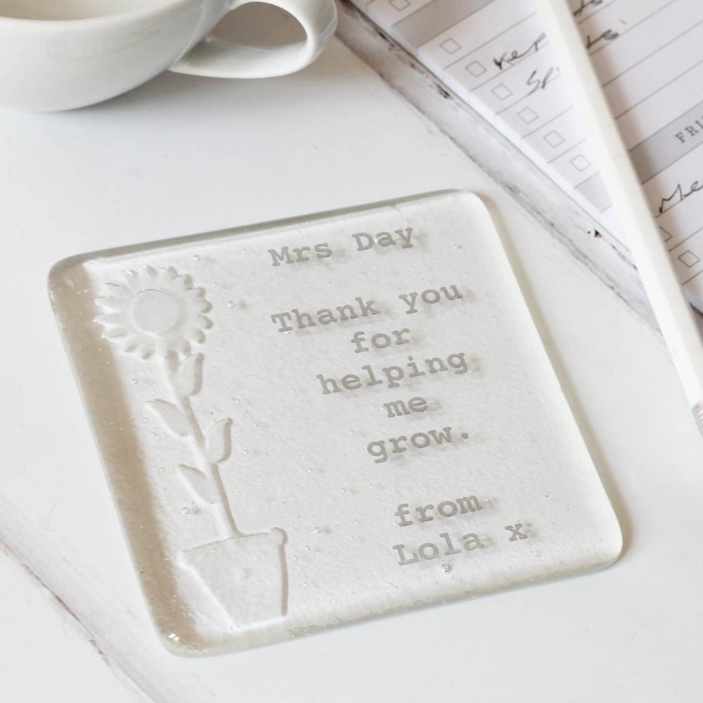 Personalised Sunflower 'Thank You for Helping Me Grow' coaster