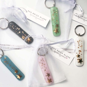 Keyring - Gold stars with gold glitter