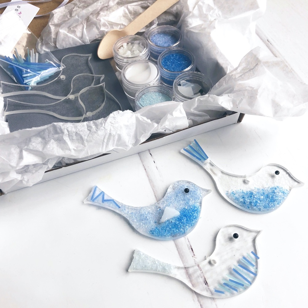 Make At Home Fused Glass Kit - Blue Birds