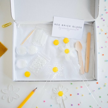 Make at home fused glass kit -  Daisies