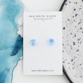Ocean Bubbles fused glass stud earrings
