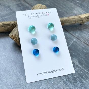Ocean Blues fused glass stud earrings - set of 3