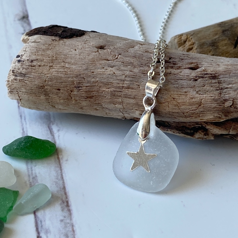 'Drift' sea glass necklace - silver plated