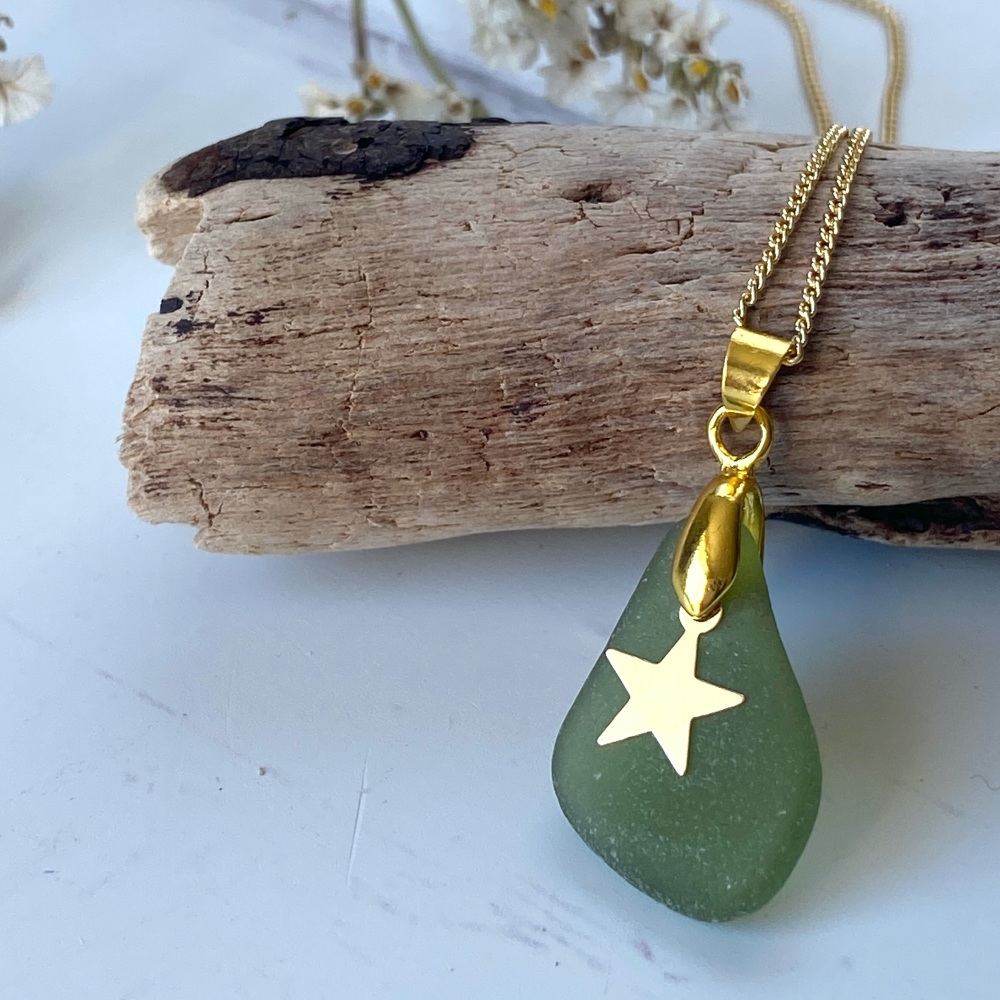 'Rock-pool ' sea glass necklace - gold plated