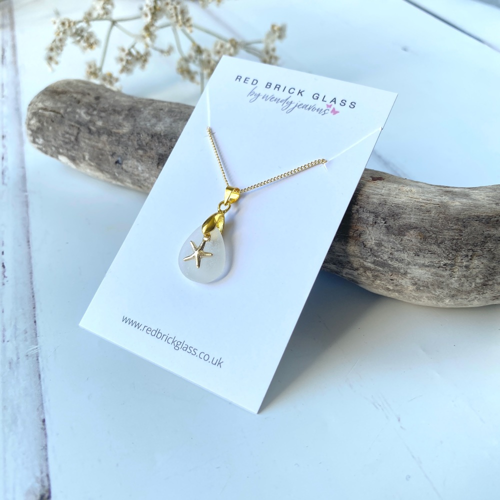 'Flow'  sea glass necklace - gold plated