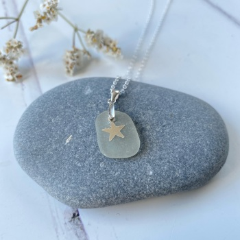 'Mist' glass necklace - Sterling silver