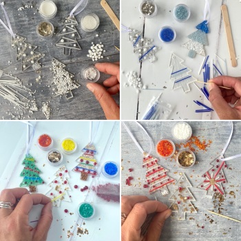 Fused Glass Kit - Christmas tree decorations  (Multiple colours options)