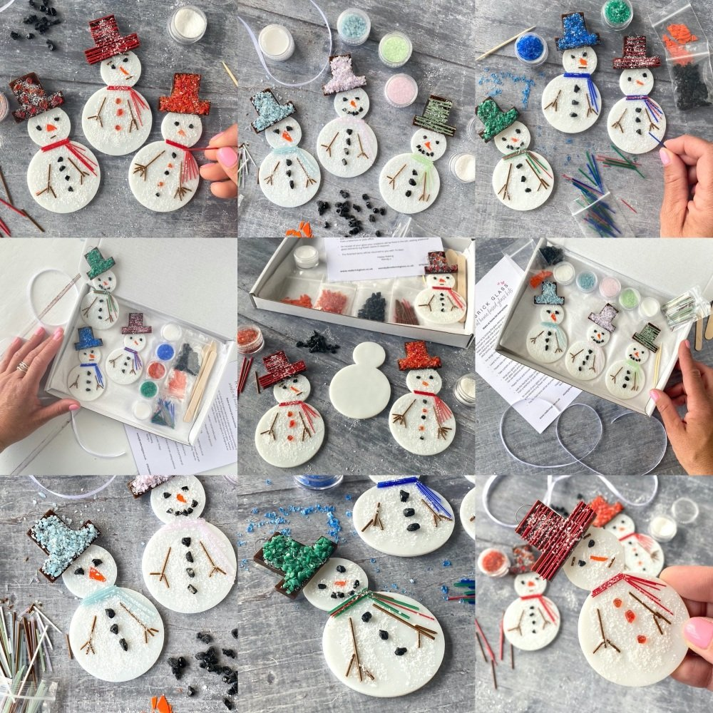 Make at home fused glass kit - Snowman (red or blue)
