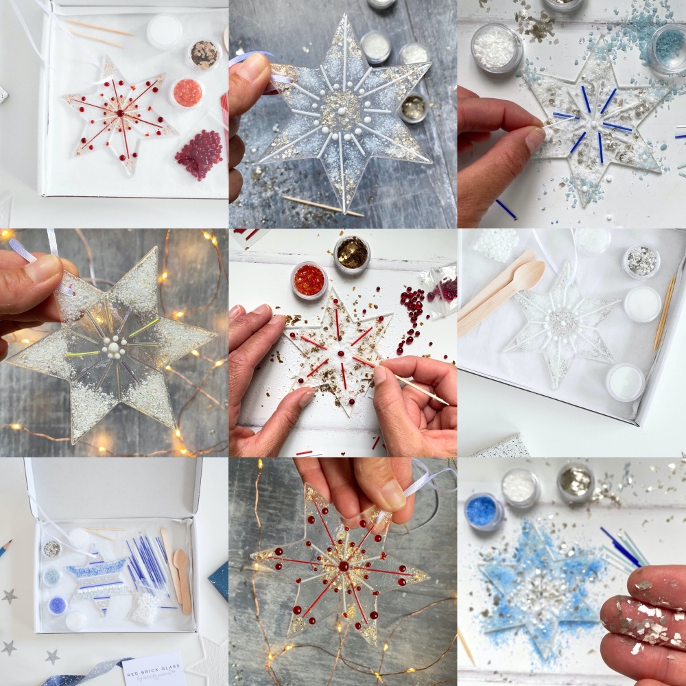 Fused Glass Kit - Large glass star  (multiple colours options)