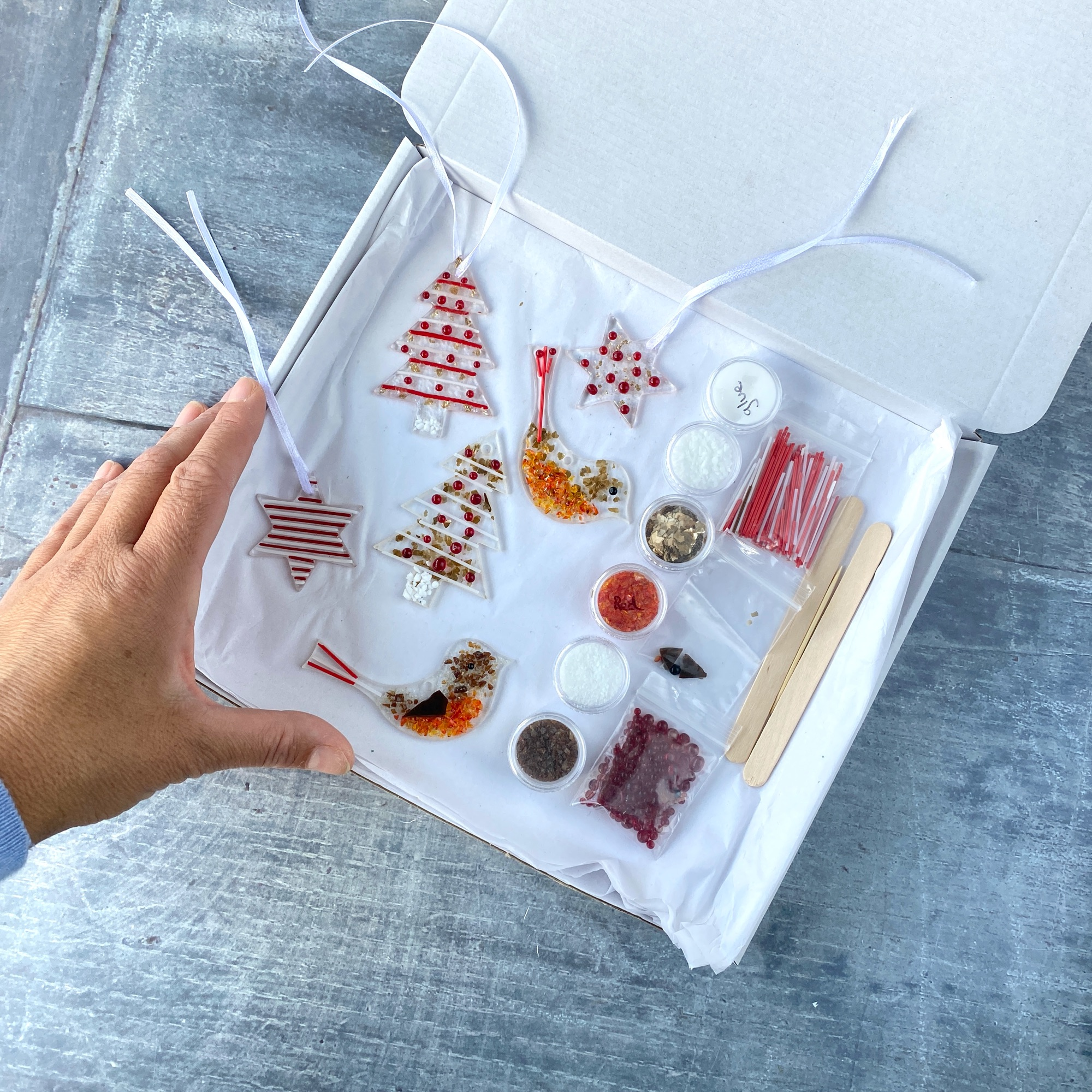 Make at home fused glass kit heart