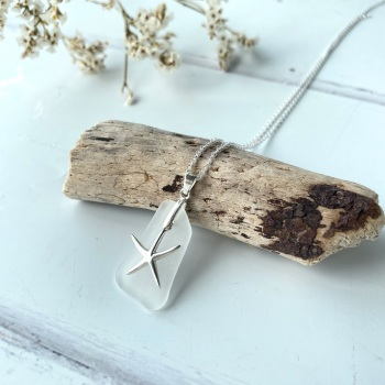 'Starfish' sea glass necklace - sterling silver