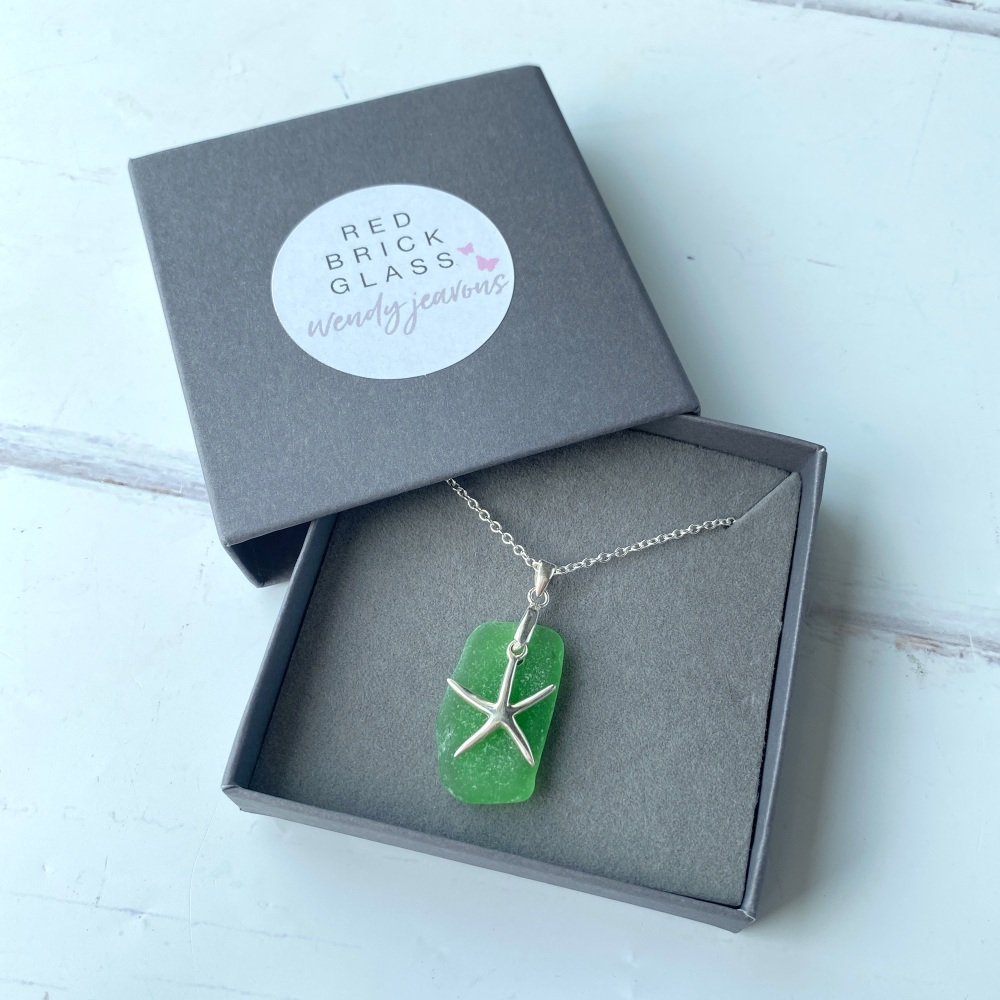 'Breeze' sea glass necklace - silver plated