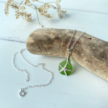 'Ebb' sea glass necklace - sterling silver