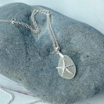 'Sea Spray' sea glass pendant / necklace - sterling silver