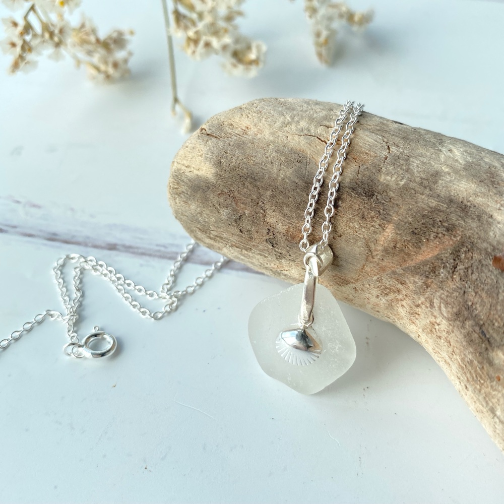 'Starfish' sea glass pendant / necklace - sterling silver
