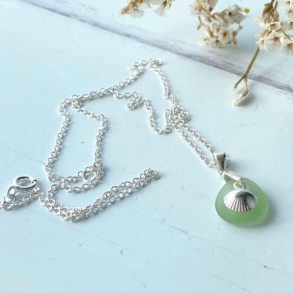 'Shore' sea glass necklace - silver plated