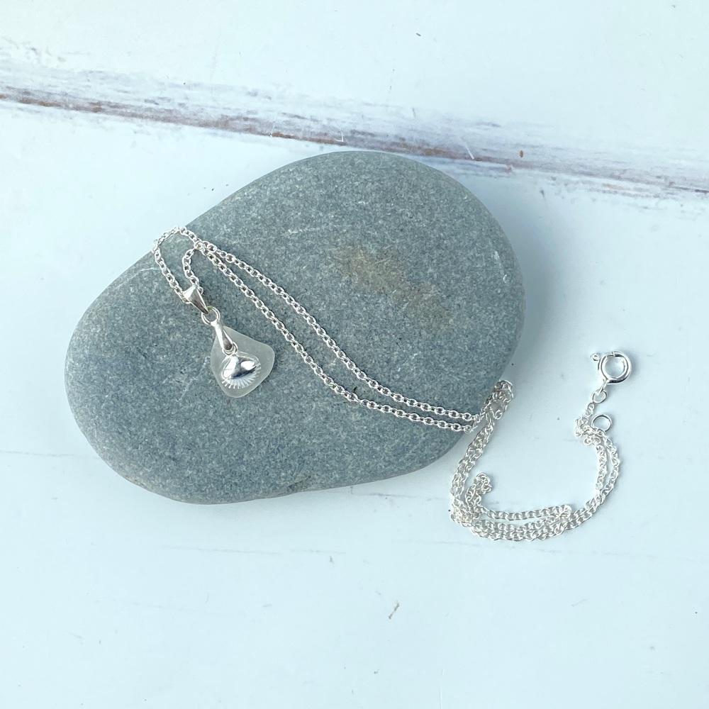 'Tide' sea glass necklace - Sterling silver