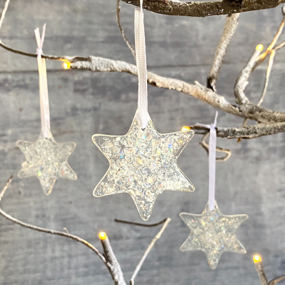 Glass star Christmas decorations - stars and stripes