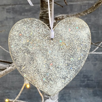 Fused glass heart decoration - Large