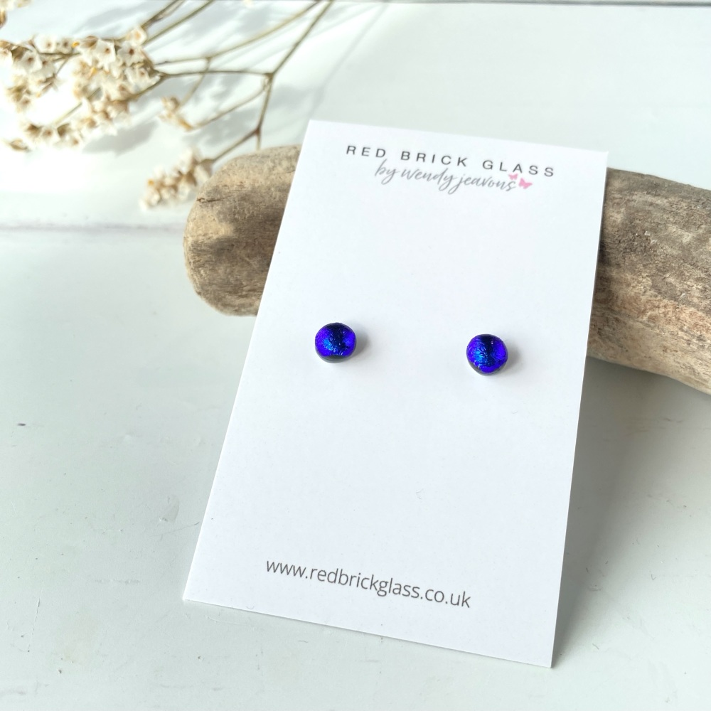 Ocean Blue Sparkle fused glass stud earrings