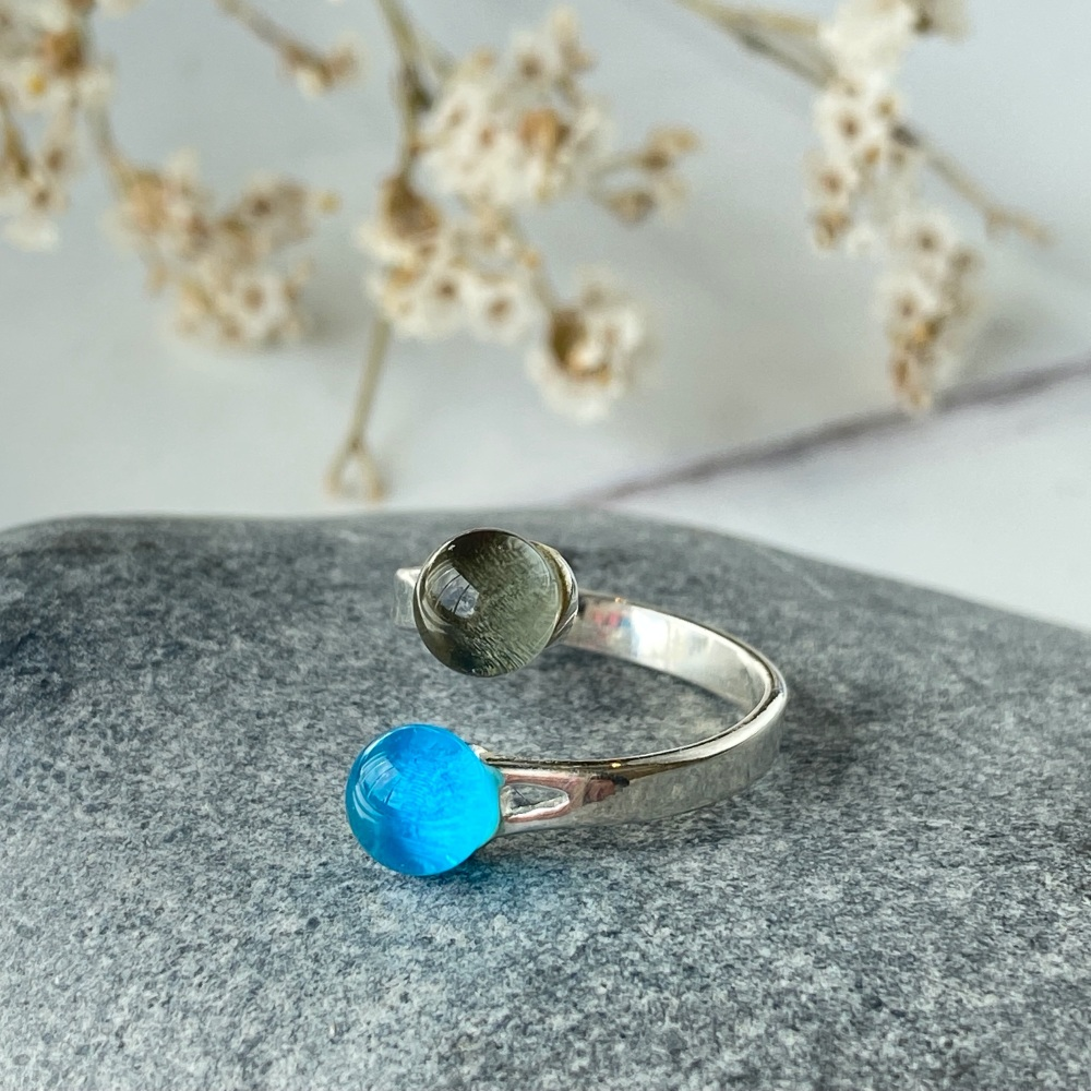 Ocean Blues fused glass ring duo - light turquoise with powder blue