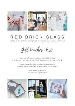 Gift voucher PDF for box for Red Brick Glass, £25 - £100