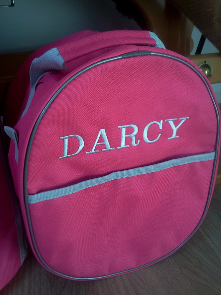 Personalised Embroidered Hat Bag.  Available in 4 colours. Price from
