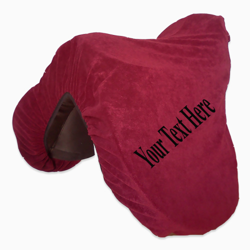<!--002-->Personalised Velour Saddle Cover inc embroidery. Black or Dark Re
